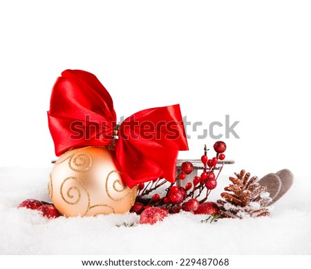 Christmas balls and sledge with pine and decorations  - stock photo