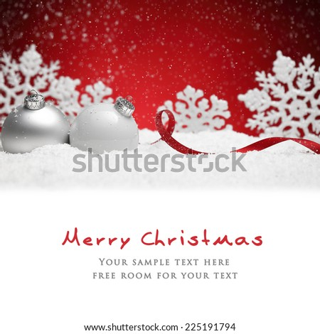 Christmas balls and snowflake on snow over red background - stock photo