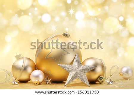 Christmas balls and star on abstract background - stock photo
