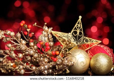 Christmas balls and star on abstract lights background,Shallow Dof. - stock photo