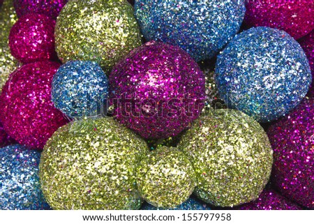 Christmas Balls Background - Red, Green and Blue Christmas Decorations for Background - stock photo