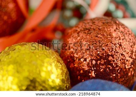 christmas balls close-up. new year decoration - stock photo
