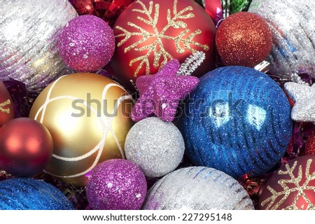 Christmas balls colorful background
