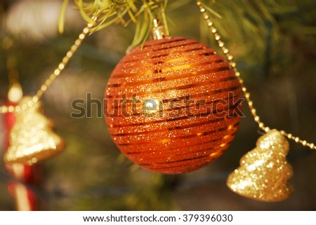 Christmas balls, decoration, close-up, blurred background small depth of field - stock photo