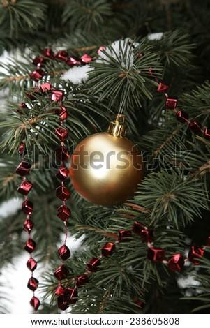 Christmas balls, fir-tree, New Year. - stock photo