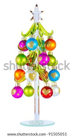 christmas balls hanging on the glass christmas tree - Glass Christmas Balls