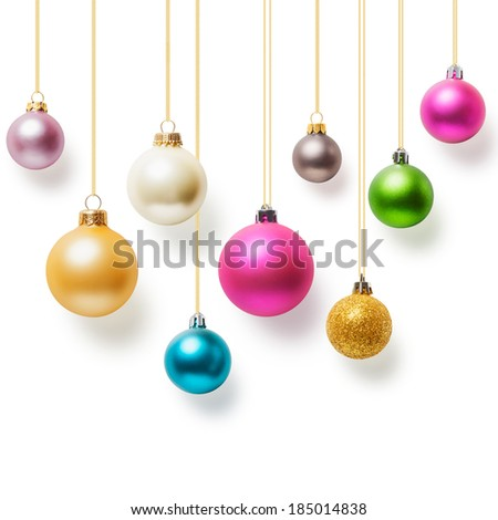 Christmas balls hanging with gold ribbon collection on white background - stock photo