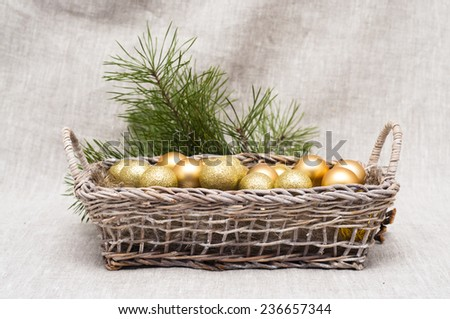 Christmas balls in the basket - stock photo