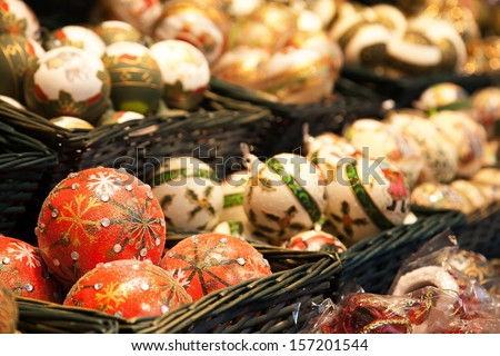 Christmas balls in the market - stock photo