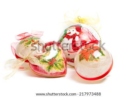 Christmas balls isolated on white background - stock photo