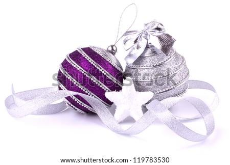 Christmas balls isolated on white background closeup - stock photo