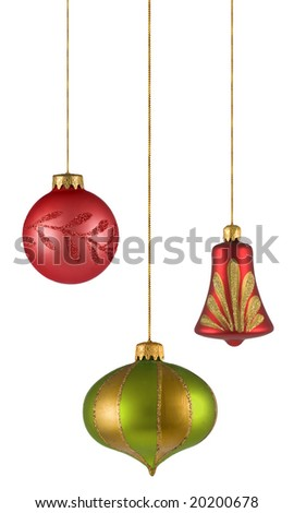 christmas balls isolated on white background. FIND MORE christmas ornaments in my portfolio - stock photo