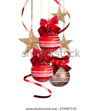 Christmas balls isolated on white background. Holiday concept.