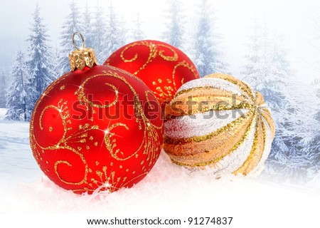 Christmas balls isolated on winter background