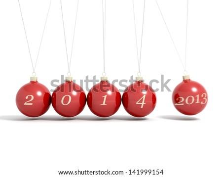 Christmas balls new year's eve Newton pendulum 2013 - 2014 isolated on a white background - stock photo