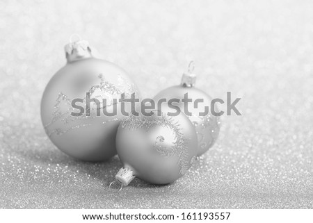 Christmas balls on a beautiful background with shallow depth of field