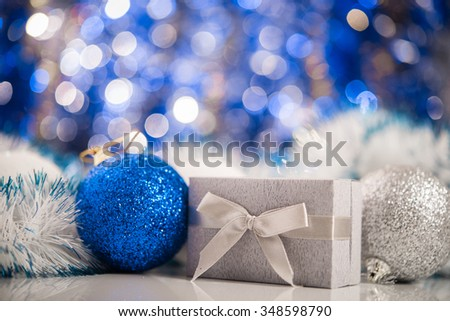 Christmas balls on abstract background. New Years concept.