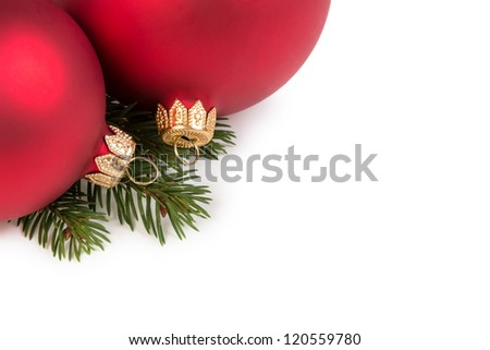 christmas balls on fir branch, white background - stock photo