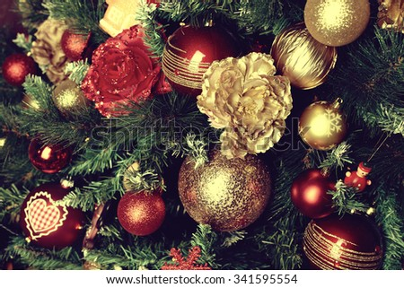 Christmas balls on fir tree. New Year holidays and Christmastime celebration - stock photo