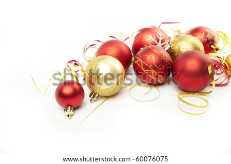 Christmas balls on the white background - stock photo