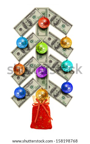 Christmas balls on tree currency over white - stock photo