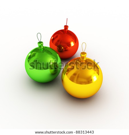 Christmas balls on white background