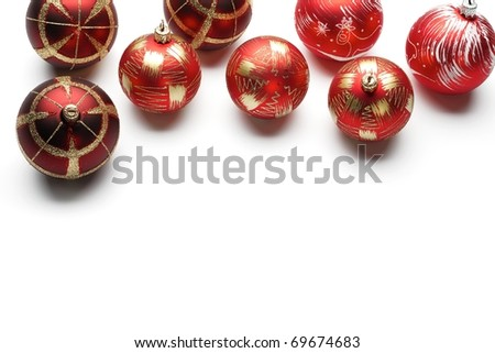 Christmas balls on white background - copy space