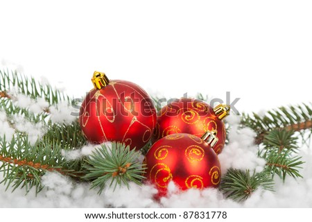 Christmas Balls over white background, greeting card