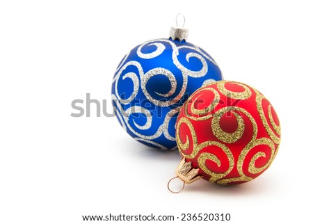 Christmas balls red and blue on a white background - stock photo