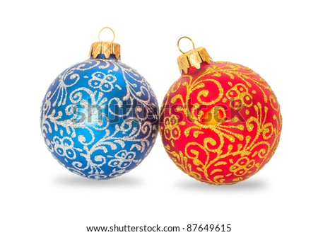 Christmas balls red and blue on a white background