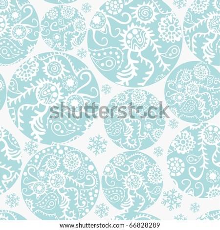 Christmas balls seamless pattern in blue - stock photo