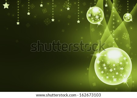 Christmas balls,streamers over background with snowflakes