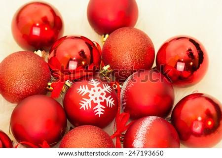 Christmas balls, toys on the Christmas tree - stock photo