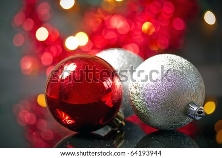 Christmas balls with abstract lights background - stock photo
