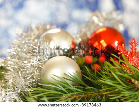 Christmas balls with blurry background - stock photo