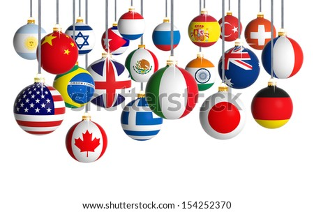 Christmas balls with different flags hanging on white background - stock photo