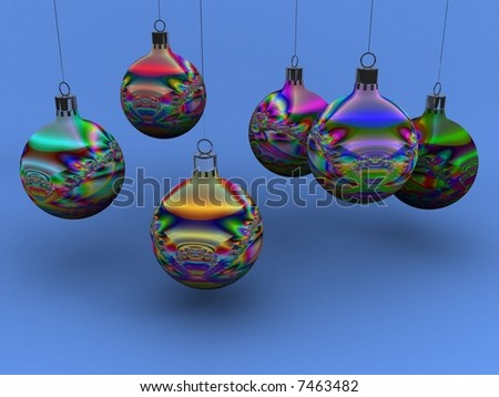 Christmas balls with fractal decoration in different colors. - stock photo