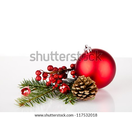 Christmas balls with pine and decorations - stock photo