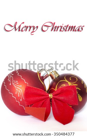 Christmas balls with red ribbon (isolated on white background)
