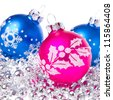 christmas balls with tinsel isolated on white background - stock photo