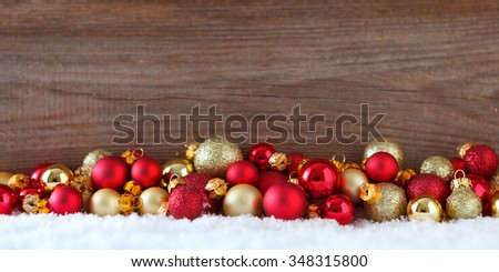 christmas banner with  christmas baubles - stock photo