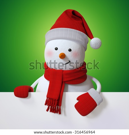 Christmas banner with snowman, holiday background, 3d cartoon character illustration - stock photo