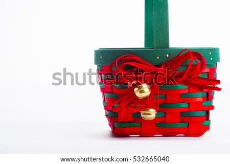 Christmas basket on white
