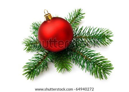 Christmas bauble and pine branches, isolated - stock photo