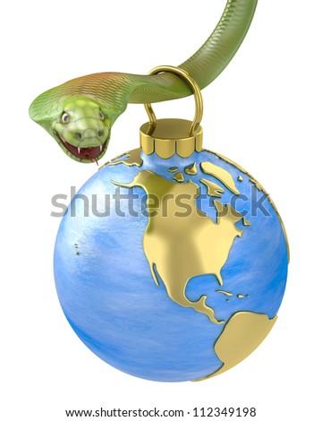 Christmas bauble hanging on cobra, America part, isolated on white background - stock photo