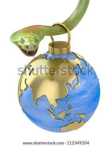 Christmas bauble hanging on cobra, Asia part, isolated on white background - stock photo