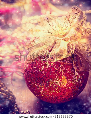 Christmas bauble on decoration table, holiday ornament background - stock photo