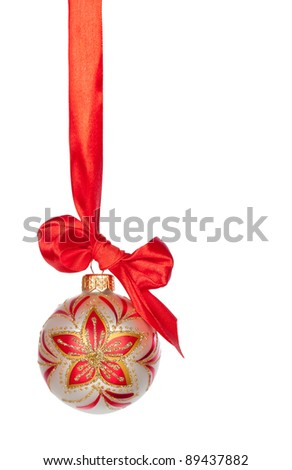 Christmas bauble with ribbon isolated on white background