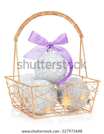 Christmas baubles and purple ribbon. Isolated on white background