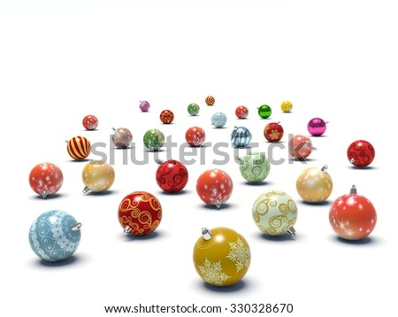 Christmas baubles. 3d render illustration - stock photo